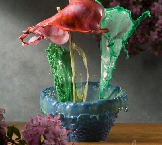 Цветочные горшки из воды и краски от Jack Long