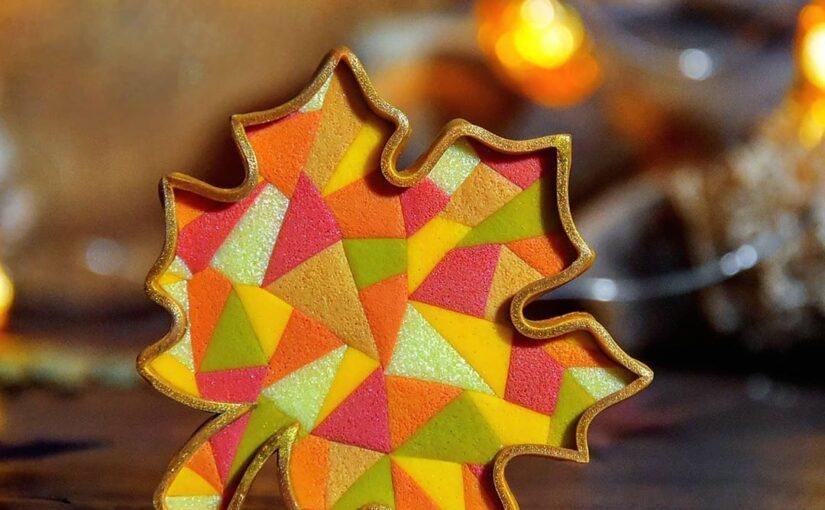 Четвёртая работа – листик из мозайки