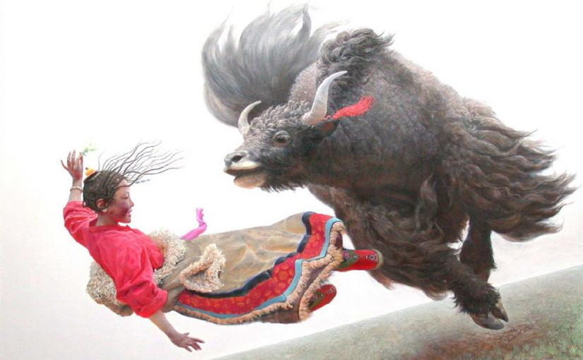 Летающие яки на холстах Wang Yi Guang